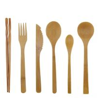 BambooMN Organic Reusable Bamboo Utensil Set 3 Spoons Fork Knife and Chopsticks - 6 Sets