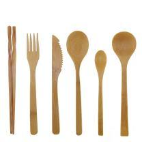 BambooMN Organic Reusable Bamboo Utensil Set 3 Spoons Fork Knife and Chopsticks - 100 Sets