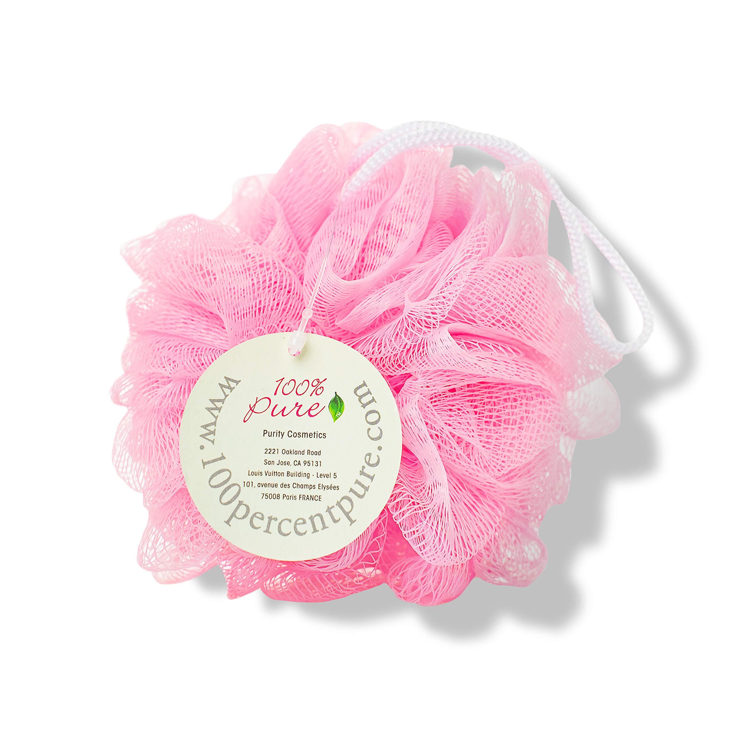 100% PURE Bath Sponge, Exfoliating Body Scrub, Loofah Sponge for Sensitive Skin, 100% Recycled, Body Exfoliator for Bath/Shower - Colors May Vary