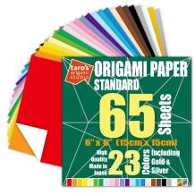 [Taro's Origami Studio] Standard 6 Inch One Sided 23 Colors 65 Sheets Square Easy Fold Premium Japanese Paper for Beginner (Gold and Silver Included)