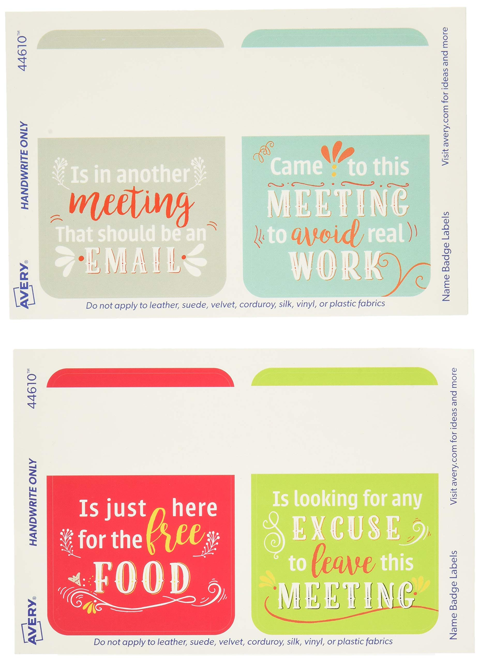 Avery Premium Workplace Humor Name Tags, Great Ice Breakers, No Lift No Curl, 36 Handwriteable Name Stickers