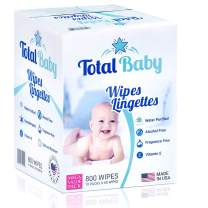 Mark total wipes Baby Natural Sensitive Baby Wipes 800 Count (10 Pack of 80 Count) Made with Pure Water, Alcohol-Free, Fragrance-Free Wet Wipes, Vitamin E, Hypoallergenic