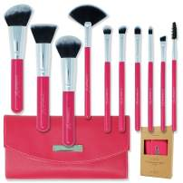 labeauteSoi Professional Makeup Brush Set - 10 pcs Essential Soft Synthetic Face and Eyeshadow Pink Brushes and Bag - Travel Friendly Faux Leather Case No Odor (US BRAND)