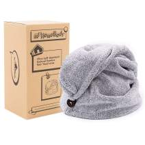 myHomeBody Hair Towel Wrap | Luxury Anti-Frizz Rapid-Dry Hair-Drying Turban | Ultra Soft and Quick Drying Absorbent Bamboo Cotton with Button
