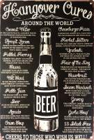 """UNIQUELOVER Bar Decor, Hangover Cures Vintage Retro Metal Tin Signs for Home Bar Decor 12"""" X 8"""""""