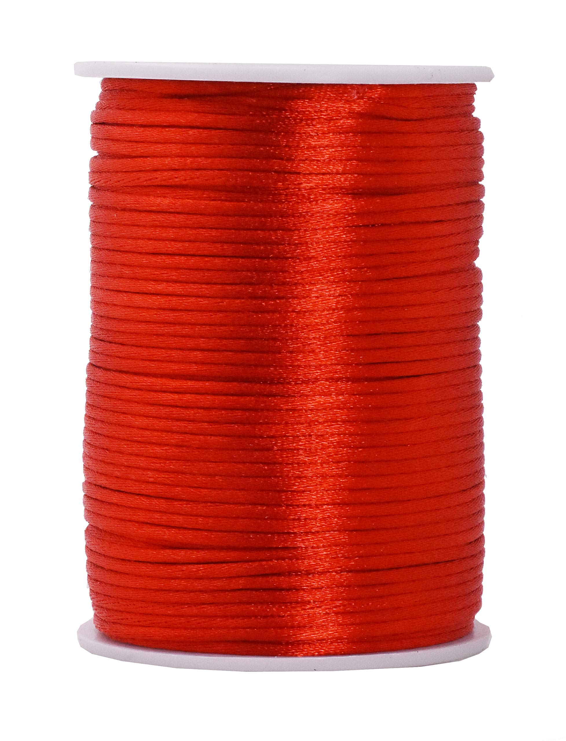 Mandala Crafts Satin Rattail Cord String from Nylon for Chinese Knot, Macramé, Trim, Jewelry Making (Red, 2mm)