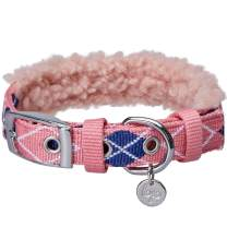 "Blueberry Pet 2021 New Soft & Comfy Scottish Argyle Fleece Padded Adjustable Dog Collar with Metal Buckle - Pink, Neck 17-20.5"", for Large Breed"