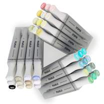 Croma Brush Dual Tip Alcohol Based Sketch Markers, Flagship 36 Basic/Skin/Gray Set, Ergonomic, Odorless, Replaceable Nibs, for Coloring Manga Comic Illustrations Art with Acrylic Case (Basics)
