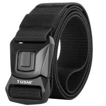 WONDAY Mens Tactical Belt, Military Tactical Belt Nylon Belt Heavy Duty Tactical Belt for Men, No-Hole Adjustable Nylon Web Belt with One-Press Quick Release Belt Buckle
