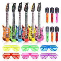 CCINEE Rock Star Party Toys Inflatable Guitars Microphones and Shutter Shading Glasses for Kids Party Favors Decoration
