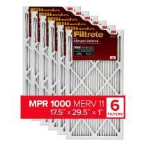 Filtrete 17.5x29.5x1, AC Furnace Air Filter, MPR 1000, Micro Allergen Defense, 6-Pack