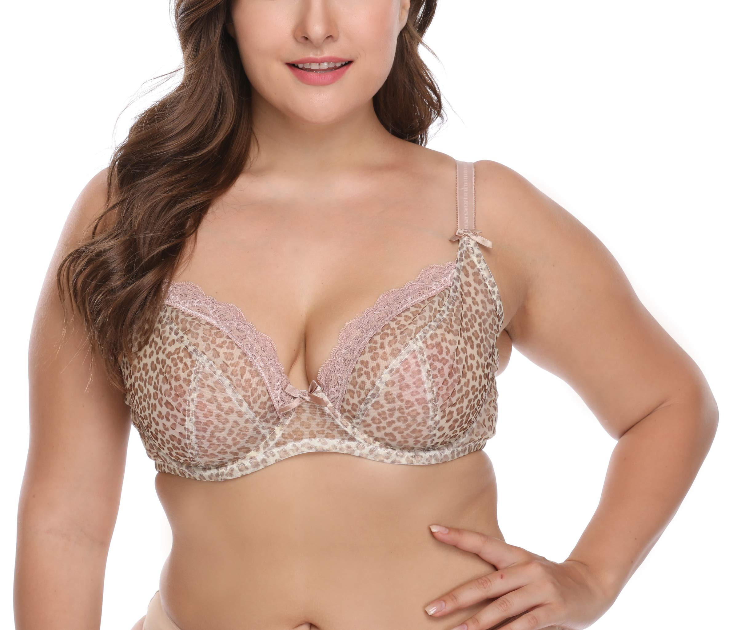 OBERORA Lace Leopard Bra for Women Plus Size Push Up Underwire Unpadded Full Cup Sexy Bras for Women
