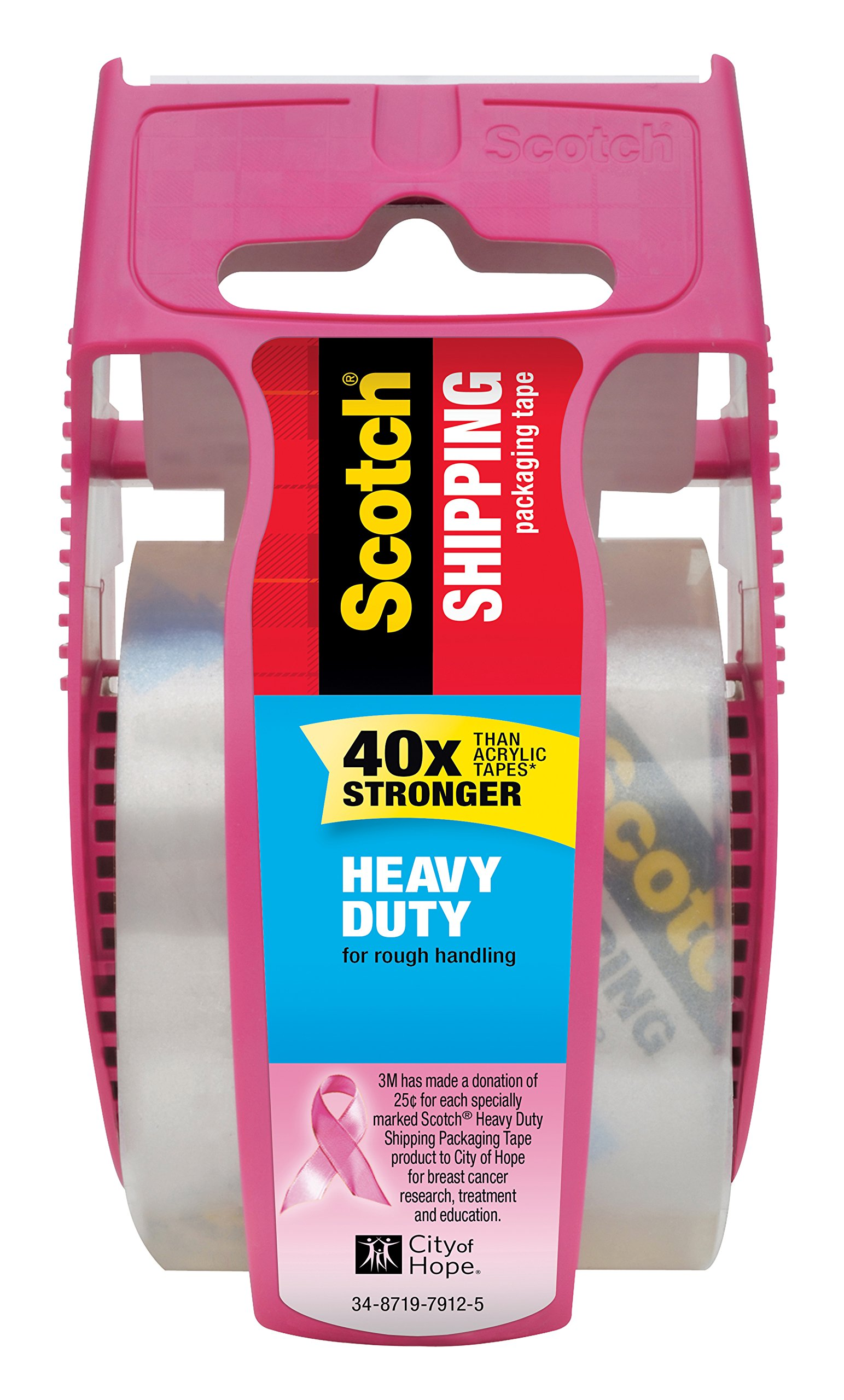 """Scotch Heavy Duty Shipping Packaging Tape, 1 Roll with Pink Dispenser, 1.88"""" x 22.2 yd, 1.5"""" Core, Great for Packing, Shipping & Moving, Clear (142-PC)"""