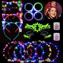 Outgeek LED Flower Crown 17PCS LED Party Favors Cat Ear Headband LED Flower Wreath Light Up Toys Party Supplies Decorative Face Gem Nail Sequin