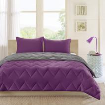 Intelligent Design Trixie All Season Reversible Down Alternative Comforter Mini Set, King/Cal King, Purple/Charcoal