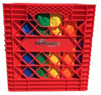 """KinderMat, Red Kindercrate, 6 Pack of 13.5"""" Kindercushions & Sturdy Storage Container, 2"""" Thick Squares Story Time Cushions, Alternative Seating, Yellow Blue Green RedPurple Orange"""