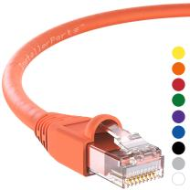 InstallerParts Ethernet Cable CAT6A Cable UTP Booted 50 FT - Orange - Professional Series - 10Gigabit/Sec Network/High Speed Internet Cable, 550MHZ