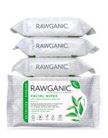 RAWGANIC Refreshing Facial Wipes, Fragrance-free Biodegradable Organic Cotton Wipes with Aloe Vera and Green Tea (bundle of 4)