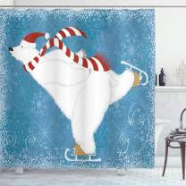 """Ambesonne Bear Shower Curtain, Polar Bear with Christmas Hat and Scarf Ice Skating Ornamental Snowflakes and Swirls, Cloth Fabric Bathroom Decor Set with Hooks, 84"""" Long Extra, Blue Red"""