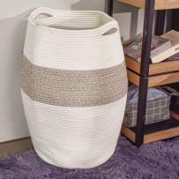 "Tall Laundry Hamper, 25.6"" Height Laundry Baskets, Blanket Basket, Woven Basket, Dirty Clothes Hamper for Laundry Room or Bedroom - Brown Mixed with Small Handles"
