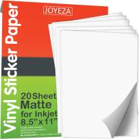 JOYEZA 𝗣𝗿𝗲𝗺𝗶𝘂𝗺 Printable Vinyl Sticker Paper Decal for Inkjet Printer, 𝟮𝟬 𝗦𝗵𝗲𝗲𝘁𝘀 Matte White Waterproof, Dries Quickly Vivid Colors, Holds Ink Well- Guaranteed Tear & Scratch Resistant
