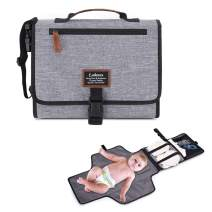 LOKASS Portable Baby Changing Pad Travel Changing Mat Lightweight Diaper Clutch with Stroller Strap for Mom, Gray