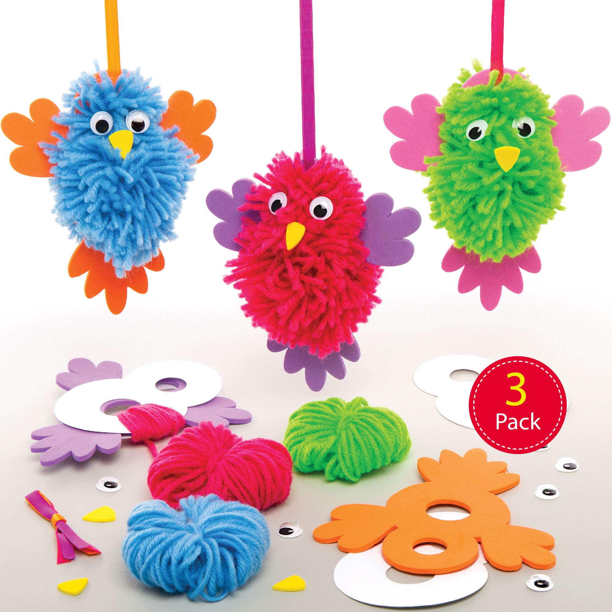 Baker Ross Bird Pom Pom Kits, Creative Art and Craft Supplies for Kids to Make and Decorate (3 Pack) , Assorted , AT563