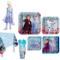 Party City Frozen 2 Party Supplies for 8 Guests, Includes Medium Elsa Costume, Napkins, Plates, Cups, and Table Cover