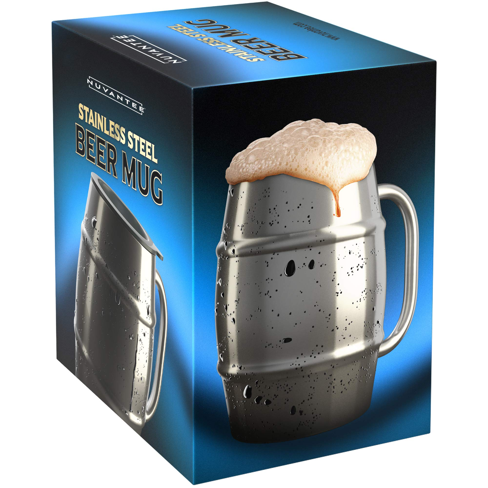Nuvantee Beer Mug – Premium Stainless Steel Mug/Coffee Cup With Bonus Lid – 16.9 OZ Double Wall Air Insulated - Better Then Glass Mugs - Perfect Gift For Men