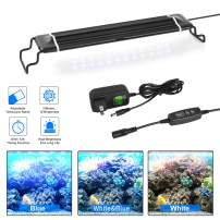 Fish Aquarium Tank Light with Aluminum Alloy Shell Extendable Brackets, White Blue LEDs And External Controller, Aquarium Light with Timer And Memory Function, for Freshwater and Saltwater Fish Tank
