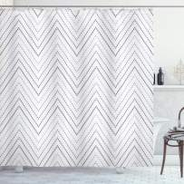 "Lunarable Chevron Shower Curtain, Squares with V-Shaped Herringbone Pattern Greyscale Geometric Illustration, Cloth Fabric Bathroom Decor Set with Hooks, 75"" Long, White Grey"