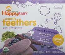 Happy Family Baby Gentle Teethers Organic Teething Wafers , 0.14 Ounce Packets (Box of 12) Soothing Rice Cookies for Teething Babies Dissolves Easily Gluten Free No Artificial Flavor
