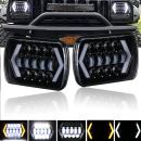 7 inch LED Arrow Halo Headlights - NSLUMO 7x6 Square Headlight for Jeep Wrangler YJ Cherokee Comanche GMC Led Arrow Angel Eyes DRL Yellow Turn Signal H6014 H6052 H6054 Led Headlight H4 Socket