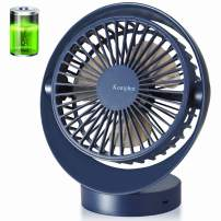 Komphot Battery Operated Fan Small Quiet Rechargeable Desktop Fan with 3 Speeds 135° Rotation and Strong Wind Portable USB Tabletop Fan with Long Life Battery for Office,Home,Travel,Camping,School