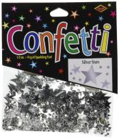 Beistle CN131 Stars Confetti Tableware Decorations, Birthday Party Supplies, 0.5 Ounces, Silver