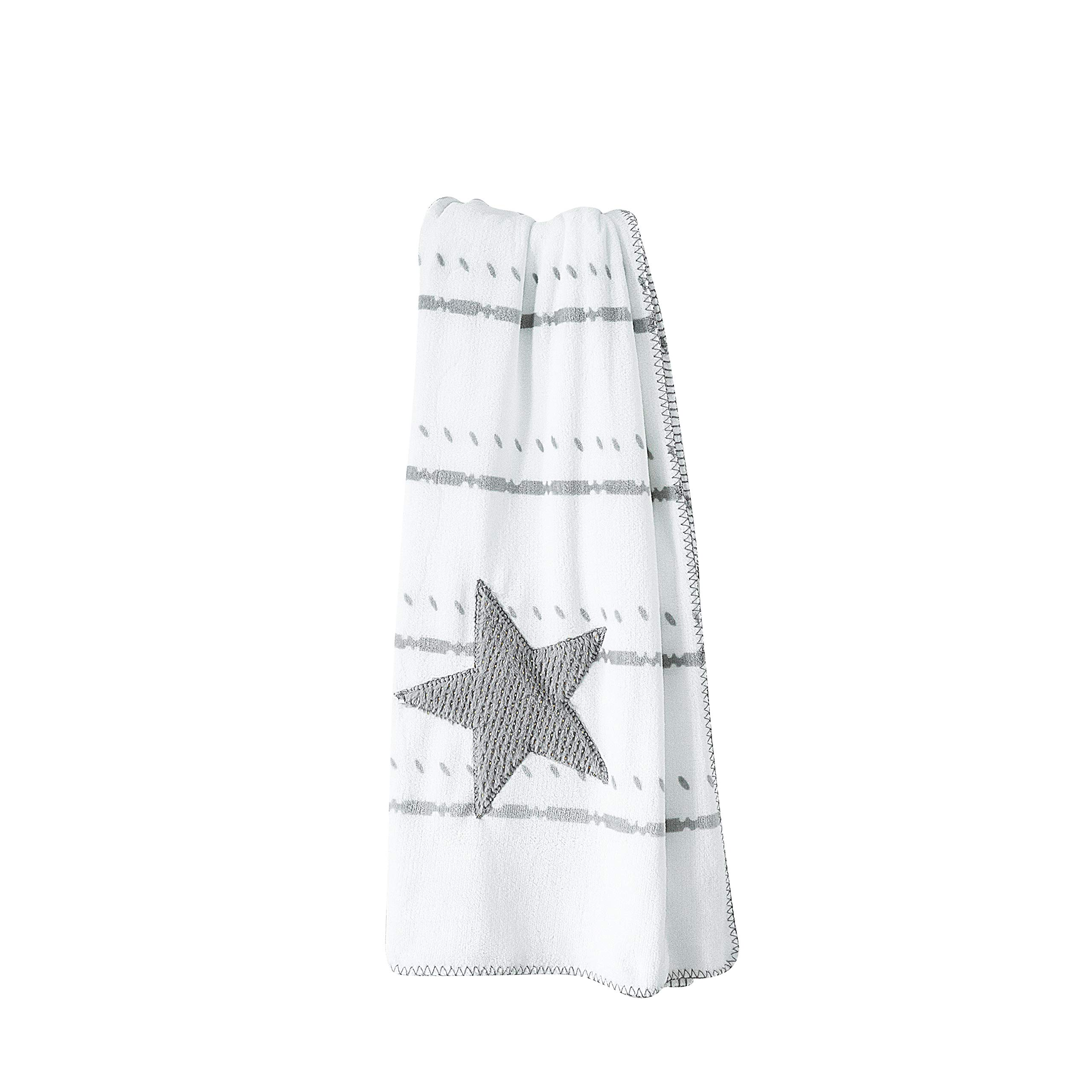 ANVI HOME Ultra Plush Boho Throw/Star Stitched Pattern Warm Velvety Cozy Super Soft/Perfect for Bed, Couch, Travel, All Season Use, Easy Care - 50X60 Inch - Grey