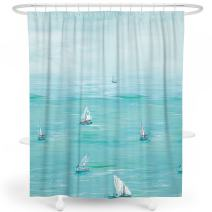 LIVETTY Kids Shower Curtains Bathroom Aqua Nautical Oil Painting Sea View Ocean Voyage Boats Sailing Shower Curtain Set Polyester Machine Wash 72x72 Inch Hooks Included