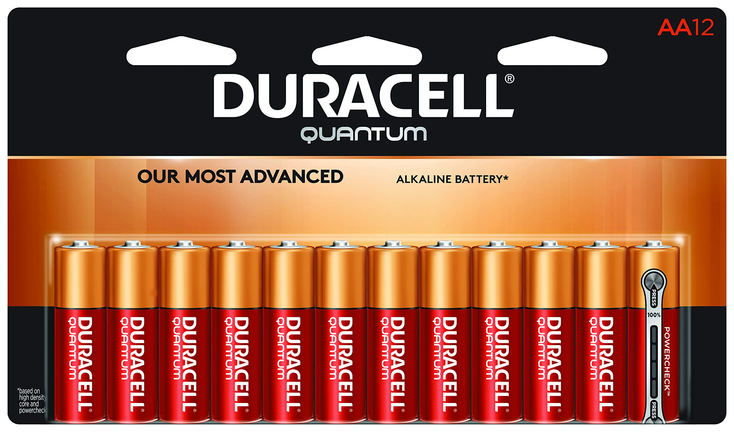 Duracell Quantum AA Alkaline Batteries - Long Lasting, All-Purpose Double A Battery for Household and Business - 12 Count