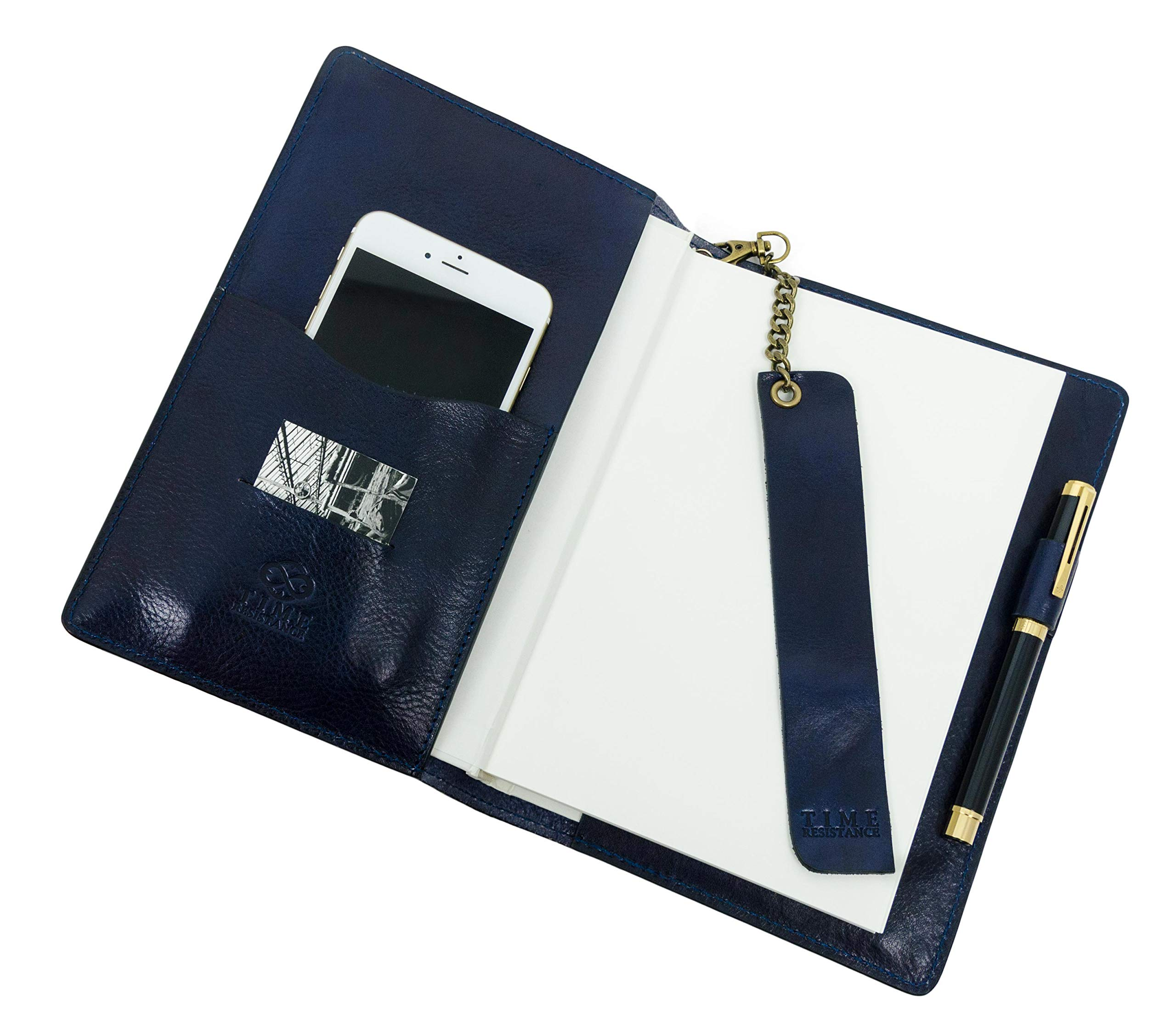 Leather Journal with Refillable A5 Notepad and Bookmark Notebook Cover with Pen Loop Blue Time Resistance