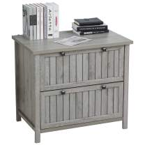 HOMCOM Retro Style 2-Drawer Lateral File Cabinet Chest Wooden Documents Storage for Letter/Legal Size, Grey