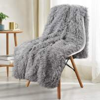 Noahas Shaggy Longfur Throw Blanket with Sherpa Warm Underside, Super Soft, Cozy Large Plush Fuzzy Faux Fur Blanket, Washable Couch or Bed Throws Christmas Decorative Gift Ideal 50x60, Grey