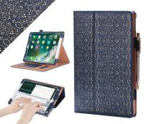"""WWW Case for iPad Air 10.5"""" (3rd Gen) 2019/iPad Pro 10.5"""" 2017, [Luxury Laser Flower] Premium PU Leather Case Protective Cover with Auto Wake/Sleep Feature,Multiple Viewing Angles–Navy Blue"""
