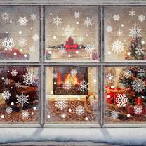 Christmas Snowflake Window Clings Decals 272pcs White Snowflakes Stickers Decorations for Holiday Celebration Merry Christmas Winter Frozen Theme Party Snow Xmas Decor