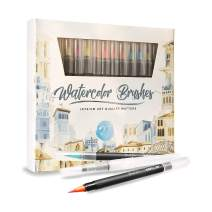 Watercolor Brush Pens Assorted Set Colored 27 + 3 Watercolor Brush Pens +8 Watercolor Paper Complete Art Supply Coloring & Inking Markers W/Real Brush Tips & Carrying Case Nontoxic (27)