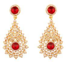 Touchstone Indian Bollywood Rhinestone bridal designer jewelry earrings for women