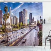 """Ambesonne Travel Shower Curtain, Downtown Cityscape of Los Angeles California USA Avenue Buildings Palms Print, Cloth Fabric Bathroom Decor Set with Hooks, 75"""" Long, Blue Grey"""