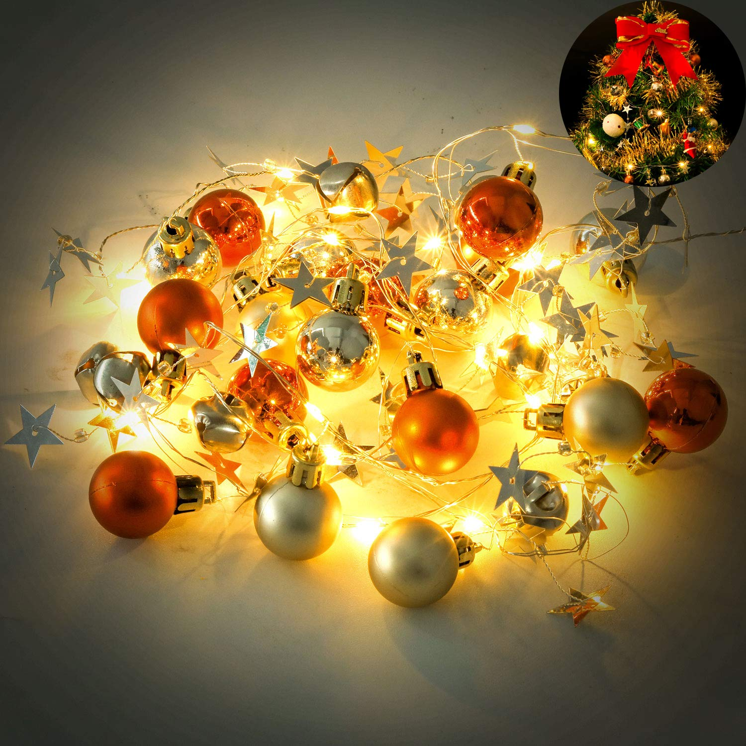 JUSTDOLIFE Christmas Garland with Lights, 6.5FT 20 LED Battery Operated Xmas Ball Bell Decor Garland