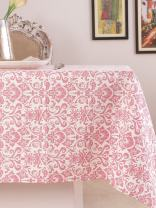 Table Cloth, 100% Cotton, Rectangular Table Cloth of Size 60X 102 Inch, Eco - Friendly & Safe, Pink Ornaments Design for Kitchen