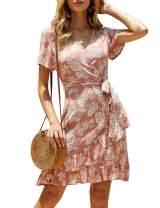 imesrun Womens Wrap Mini Dress Short Sleeve Floral Tie Waist Casual Flare Swing Dress