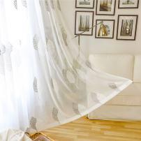 VOGOL Rod Pocket Sheer Curtains Elegant Embroidered Banyan Leaves Design White Window Drapes/Panels for Living Room, 54 x 84,Two Panels